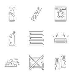 domestic washing icons set outline style vector image