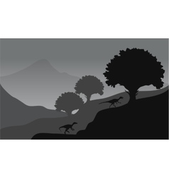 Eoraptor in hills scenery vector