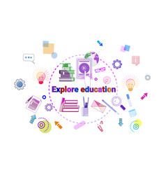 Explore education banner online study elearning vector