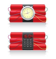 explosive dynamite and clockwork vector image