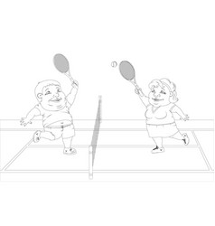 fat people playing tennis on the court white and vector image vector image