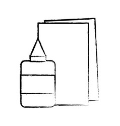 figure glue and cardboard scchool utensils to vector image