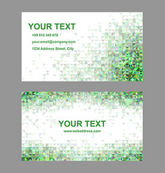 Green triangle mosaic business card template vector