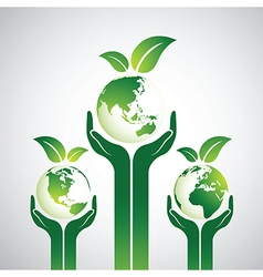 Hand earth vector image vector image