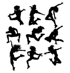 Hip hop activity and action silhouettes vector