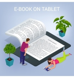 Isometric e-book concept university computer vector