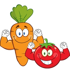 Muscly Carrot and Tomato Cartoon vector image vector image