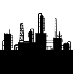 Oil Refinery Plant and Chemical Factory Silhouette vector image vector image