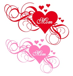 Red heart with swirls mothers day card vector