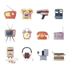 Retro Media Gadgets Cartoon Set vector image