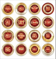 Sale retro vintage golden badges and labels 01 vector