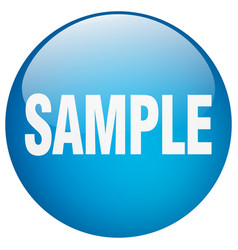 Sample blue round gel isolated push button vector