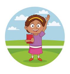 school girl cute cartoon vector image