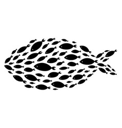 Silhouette of group of sea fishes colony of small vector