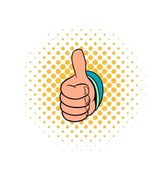 Thumb up gesture icon comics style vector image