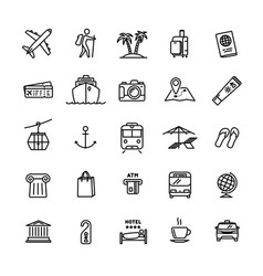 travel related set - 25 light outline icons vector image vector image