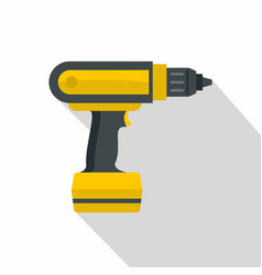 Yellow electric screwdriver drill icon flat style vector
