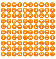 100 family icons set orange vector
