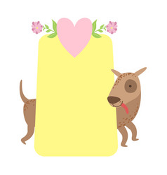dog behind paper sticker template st vector image