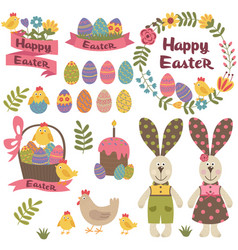 Set of isolated happy easter design elements vector