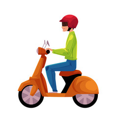 Scooter moped motor bicycle rider wearing helmet vector