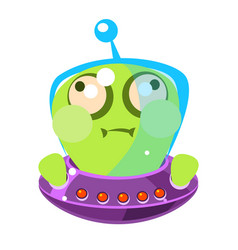 Inflated green alien in a flying saucer cute vector