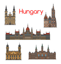 Hungarian travel landmark thin line icon set vector