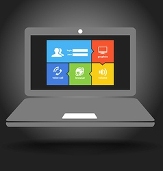 Laptop display with modern color tile interface vector