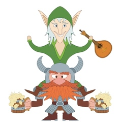 Friends drunken elf and dwarf vector