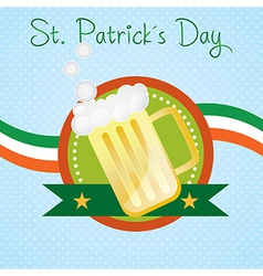 St patricks day beer on blue background with irela vector