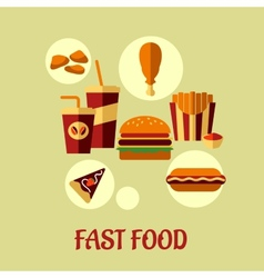 Fast food flat poster design vector