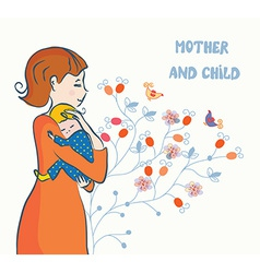 Cute card with mother and baby vector