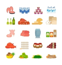 Supermarket food flat icons vector