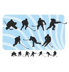 Hockey silhouettes set vector