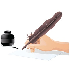 Man writing with quill vector