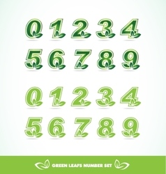 Green leaf logo number set vector