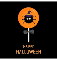 Sweet candy lollipop with spider in witch hat vector