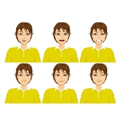 Teenager on six different face expressions set vector
