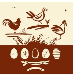 Set of hand-drawn brush rooster chicken eggs vector