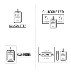 Glucometer test strip Label flat icon medical vector image