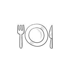 Plate with cutlery sketch icon vector