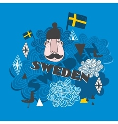 Creative pattern with swedish symbols vector