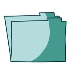 Aquamarine hand drawn silhouette of folder vector