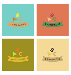 Assembly flat icons letters languages vector