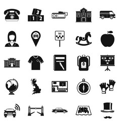 Autobus icons set simple style vector
