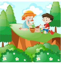 boy and girl planting in the forest vector image