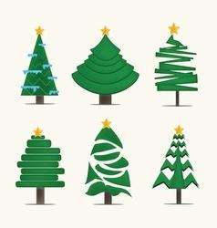 Christmas treesicon set vector