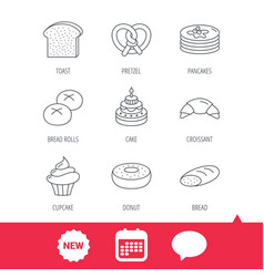 Croissant pretzel and bread icons cupcake vector