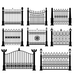 decorative wrought fences and gates set vector image vector image