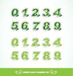 Green leaf logo number set vector image
